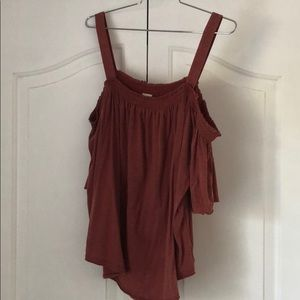 Free People Red flowy off shoulder top